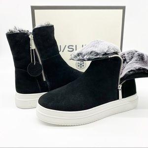 NEW J/SLIDES Tristan Platform Sneaker Faux Fur 10